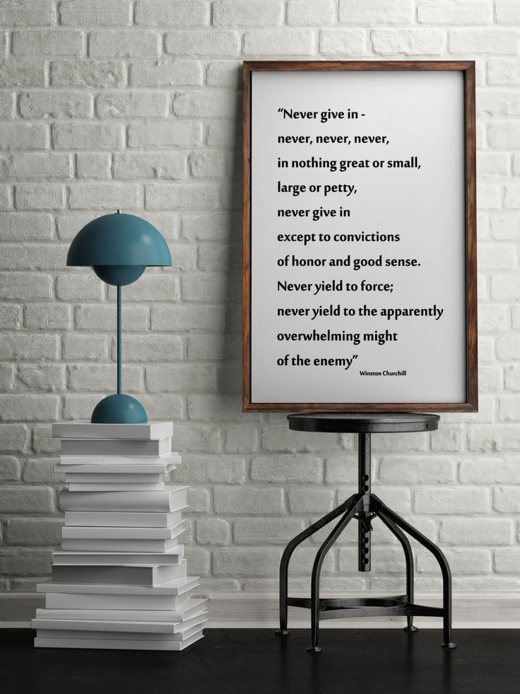 Printable file// Never give in// Winston Churchill quote// digital file// wall decor// wall art// inspirational// motivational// by Love4D on Etsy