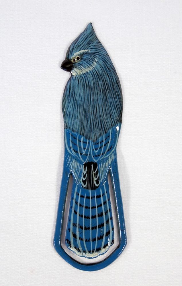 Hand Painted Blue Jay Bird Bookmarks (Set of 2) 298B