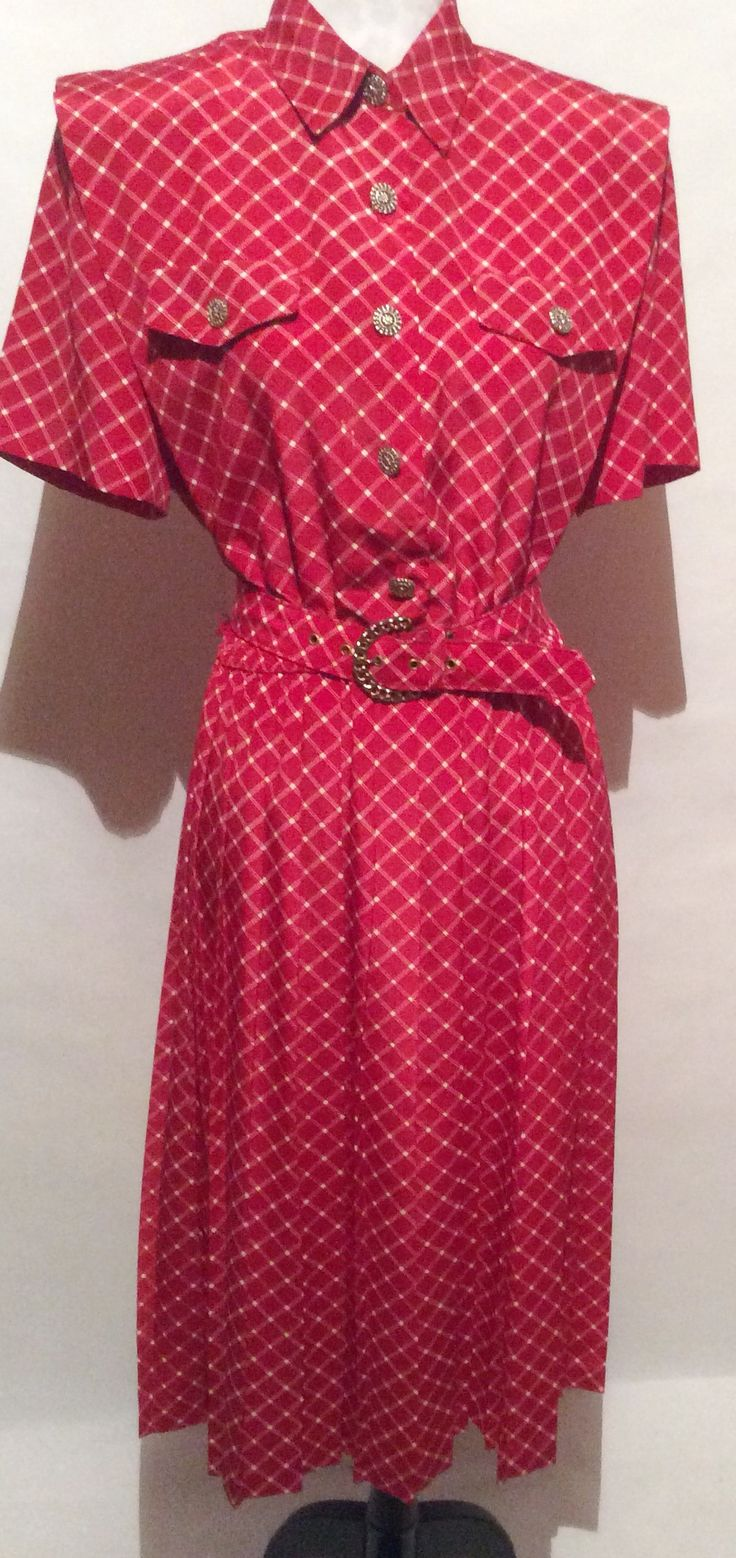 Red & Silver Vintage Dress 12 Petite