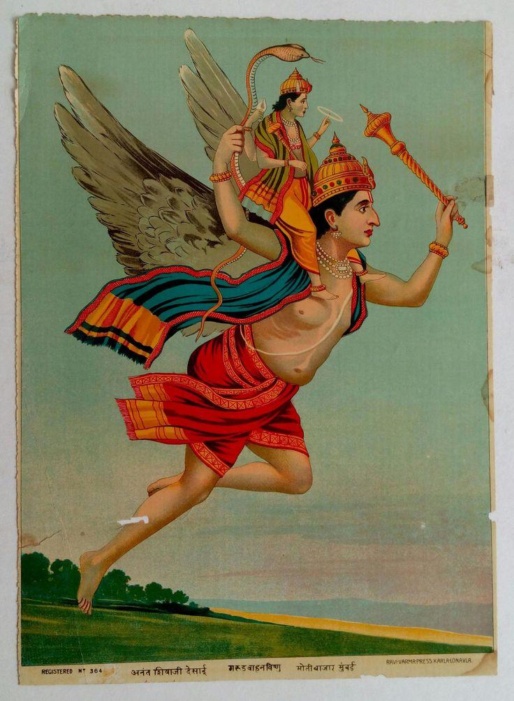 India Antique Ravi Varma Lithograph / Lord Vishnu on Garuda #569