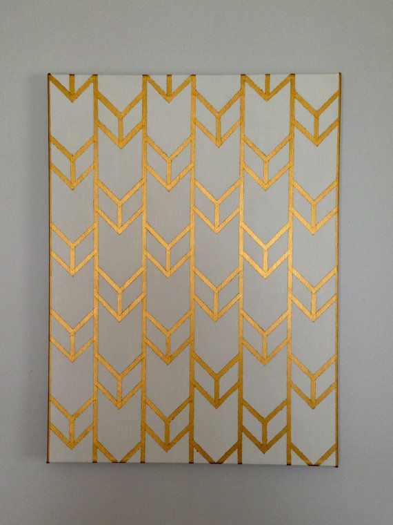 Customizable Hand-Painted Acrylic Chevron Arrow Design on Stretched Canvas