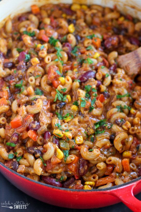 Flavorful vegetable chili, elbow macaroni, and a creamy cheese sauce combine in this hearty and nourishing vegetarian chili mac and cheese.