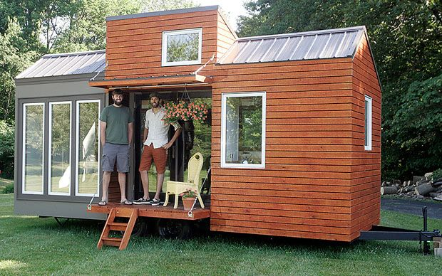 """Brothers Adam and Aaron Leu stand on the porch of their """"tiny house"""": Mobiles Home, Little Houses, Loft Bedrooms, Tiny Living, Houses On Wheels, Tiny Houses, Minis Houses, Small Houses, Tiny Home"""