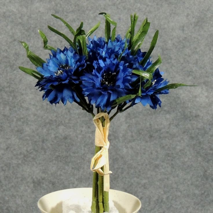 1 Pc, 8 Inch Artificial Cornflower Bundle Features 8 Blooms Perfect For Bridal Bouquet/Home Décor - Dark Blue