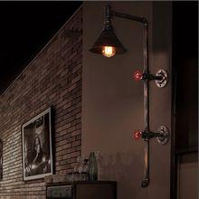 Wroguht Iron Water Pipe Wall Lamp Vintage Aisle Lights Loft Iron Wall Lamp Edison Incandescent Light Bulb(China)
