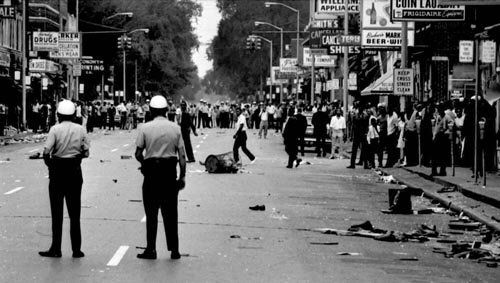 Detroit Race Riot (1967)  1) The Intersection of 12th Street and Clairmount, Saturday, July 23, 1967  ~The Detroit Race Riot in 1967 was one of the most violent urban revolts in the 20th century.  It came as an immediate response to police brutality but underlying conditions including segregated housing and schools and rising black unemployment helped drive the anger of the rioters. (cont'd)