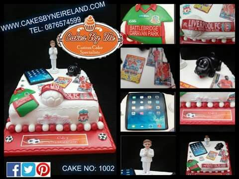Odi made his Communion over the weekend and had this cake featuring St Michaels jersey with sponsors Beirnes Of Battlebridge -Match attack cards - Mobile Phone- Liverpool Scarf - his little black dog and a Communion boy