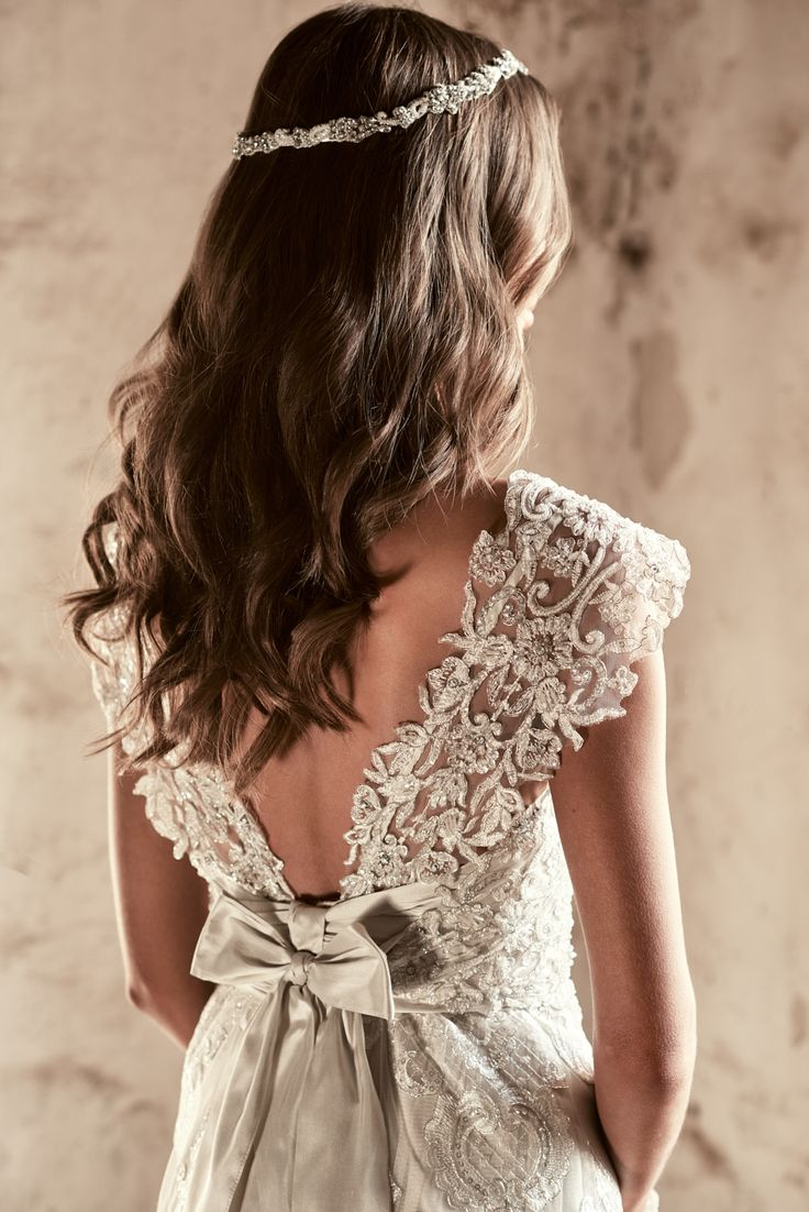 low v-back Alyssa dress from Anna Campbell with embroidered lace and shimmering sequins