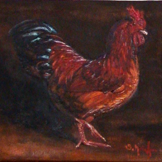 coq roux levant une patte - Peinture,  20x20 cm ©2009 par Serge KRIEF - Peintre -                            Art figuratif, coq, animaux