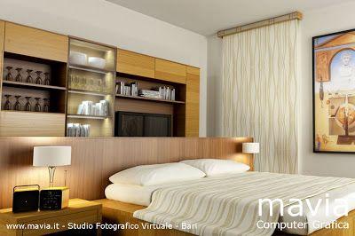 Modello 3d interno Camera da letto  matrimoniale con tenda a pannello, rendering 3d realizzato con il programma di computer grafica 3d Cinem...