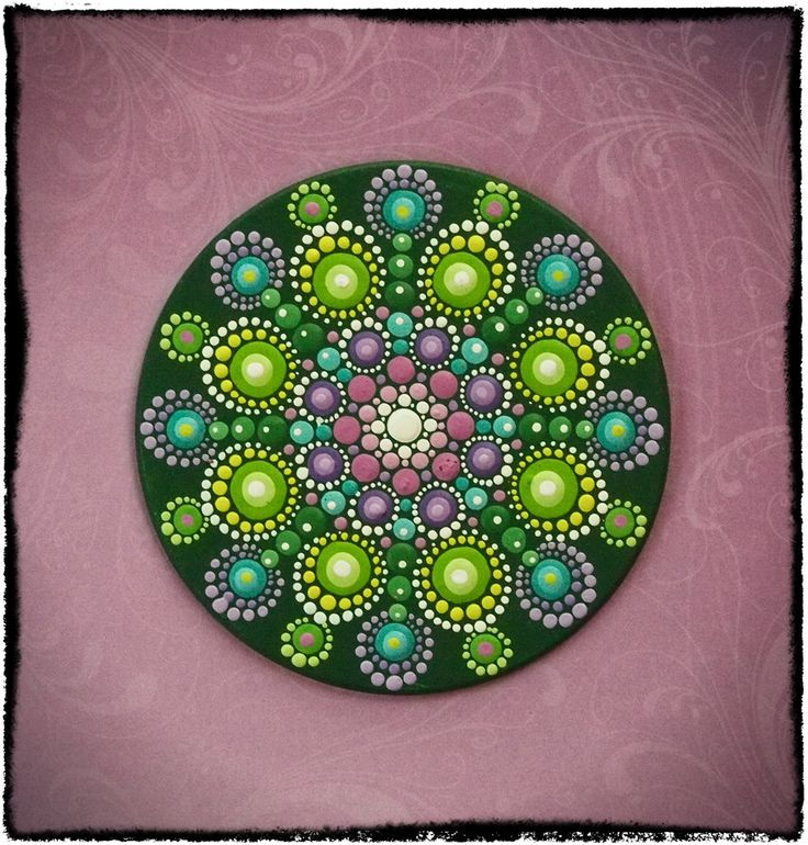 Elspeth McLean - Mini Original Round Painting- Jewel Drop Mandala- Sumblime Lime with Pretty Purples. $30.00, via Etsy.