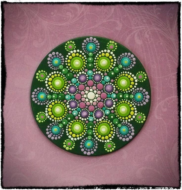 Elspeth McLean - Mini Original Round Painting- Jewel Drop Mandala- Sumblime Lime with Pretty Purples. $30.00, via Etsy.