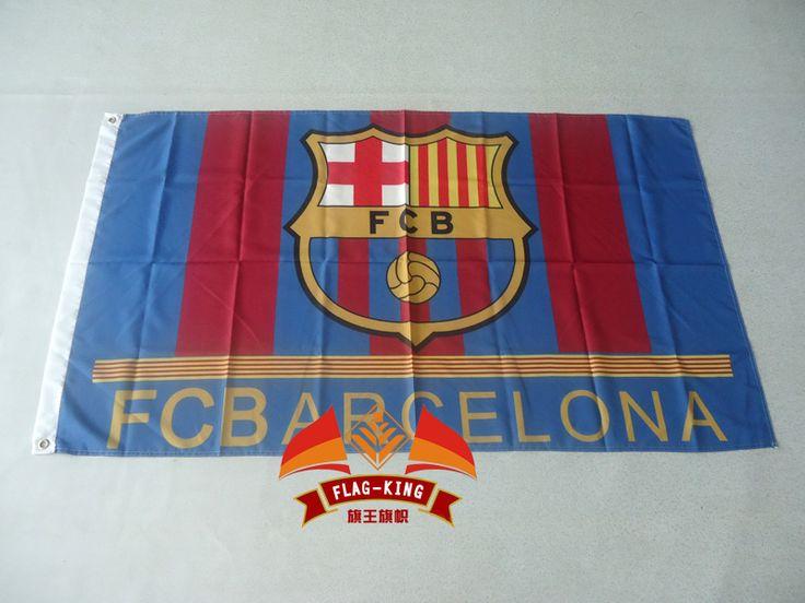 ФК Барселона футбол флаг, можем обычай печатать файл, 90 Х 150 СМ размер, 100% полиэстер Барселона футбол баннер