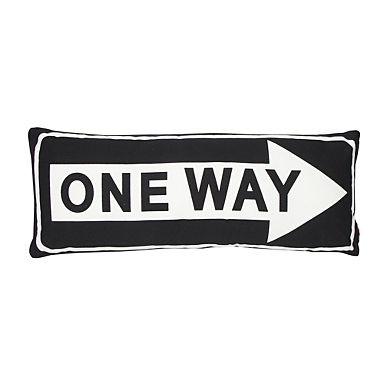 Black 'One Way' canvas cushion - Cushions - Bedding - Home & furniture -