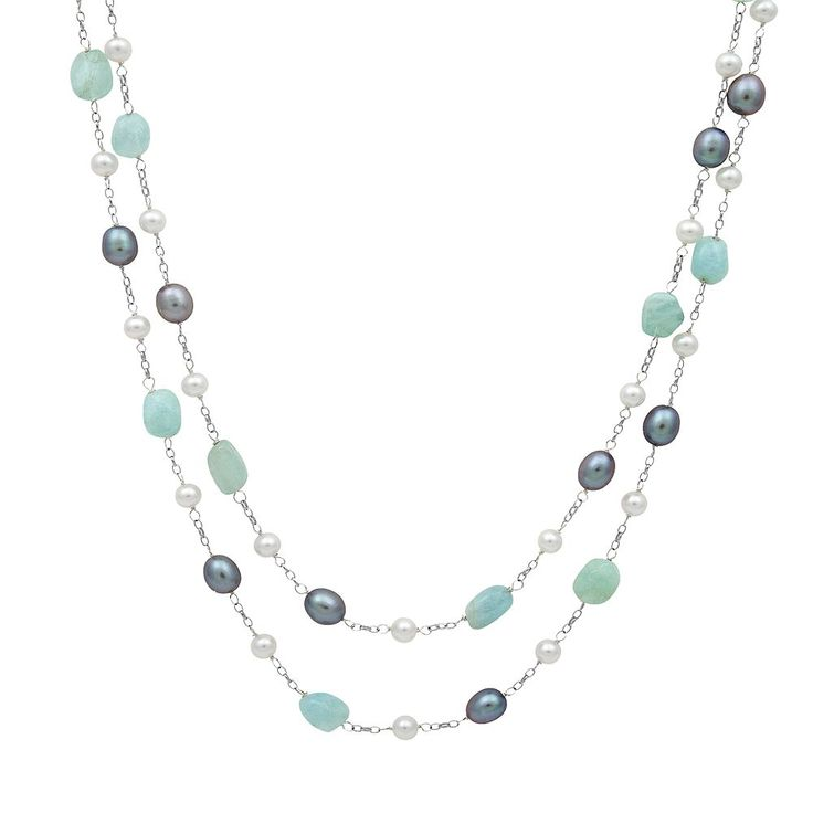 Sterling Silver Dyed Freshwater Cultured Pearl and Aquamarine Multistrand Station Necklace, Women's, Blue