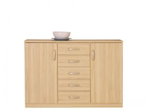 KOM2D5S KLIO dresser. Hinges with integrated dampers ensure the doors close slowly, silently and softly. Polish Brw Modern Furniture Store in London, United Kingdom #furniture #polish #brw #dresser #cabinet