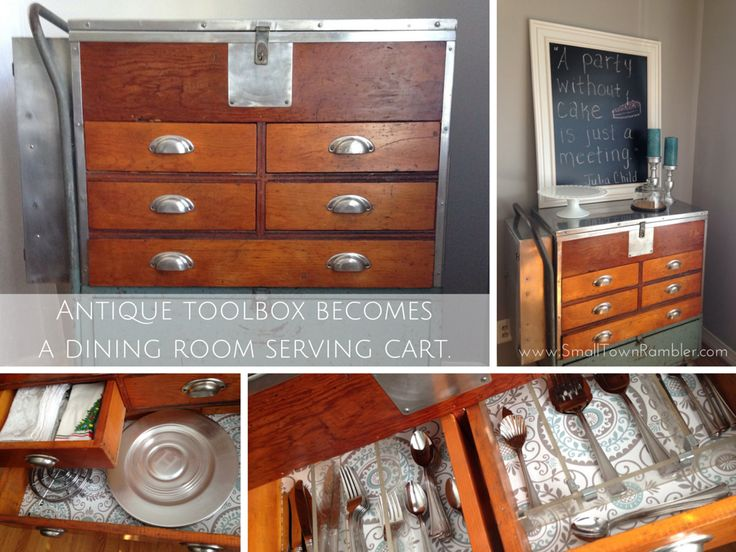 antique toolbox repurposed as a dining room serving cart - Dining Room Serving Carts