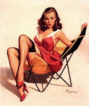 I love everything about 50's pin-up girls! (most of the time...) Seductive but modest and still retaining their dignity.: Pinups, Gilelvgren, Beaches Chairs, Vintage Pin, Art, Pinupgirl, Pinup Girls, Gil Elvgren, Pin Up Girls