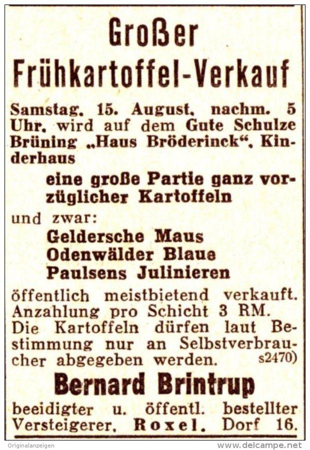 Original-Werbung/ Anzeige 1936 - FRÜHKARTOFFELN /SCHULZE BRÜNING /HAUS…