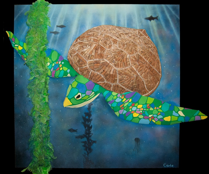 Sea Turtle Wine Cork Art By Andrew Corke    #recycling #recycle #art #AndrewCorkeArt #NewAgeArt #Nature #turtle #Wine #Winecorks #corks #Sea #Ocean #Life #seaturtle #Mixedmedia #3D #Recycledmaterial #Fineart #Awesome #Epic