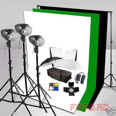 540W Hintergrundsystem 3x Hintergrund Fotostudio Studioblitz Set Blitzlampe◆