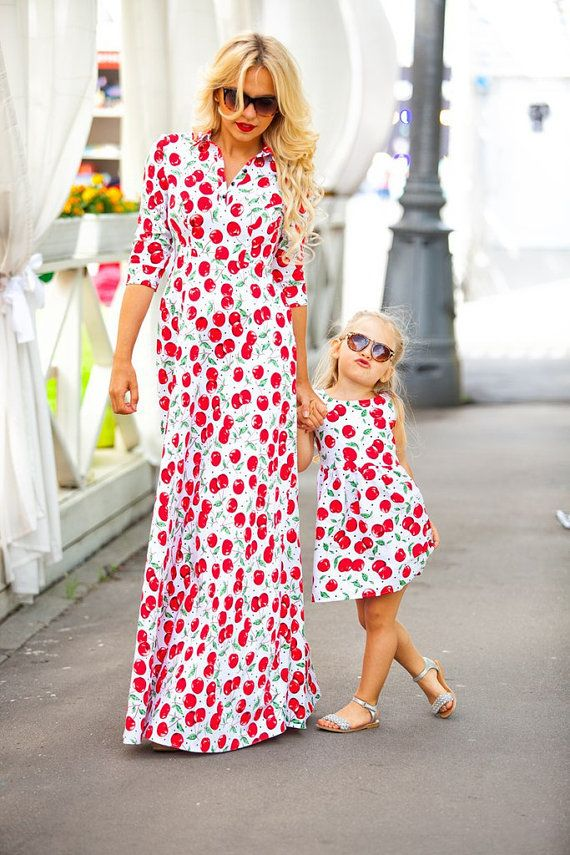 Cherries - matching mother and me dresses, family outfits, mother and daughter dresses, child dress, girl dress, family look