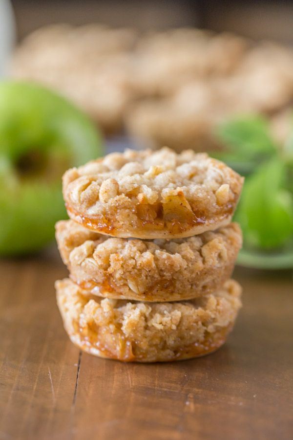 The perfect little three bite dessert with a flakey pie crust, cinnamon apple filling, and a sweet buttery crumb topping!