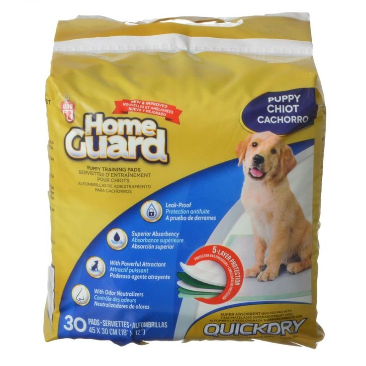 "Size: Small - 30 Pack - (18"" x 12""). Home Guard Puppy Training Pads feeature a 5 layer leak-proof protection with Quick Dry technology. Superior absorbency with powerful attractant. Odor neutralizers keep your home smelling fresh."
