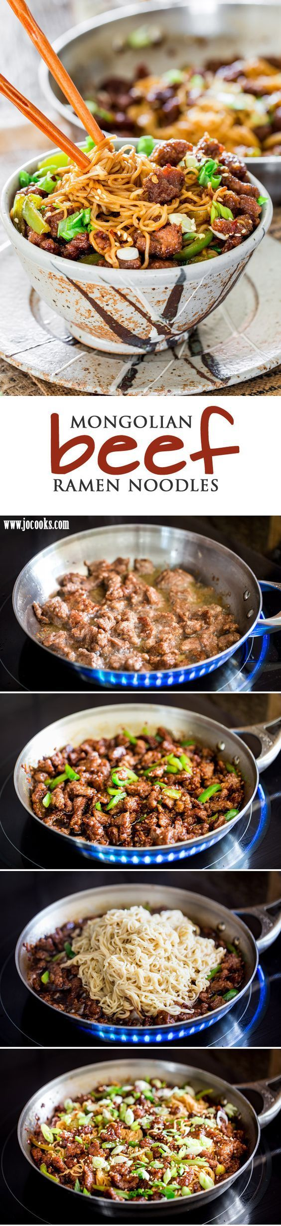 Mongolian Beef Ramen Noodles - a copycat recipe of the popular PF Chang's Mongolian Beef with green peppers and ramen noodles. So simple to make and so delicious, you'll want to forget about takeout!