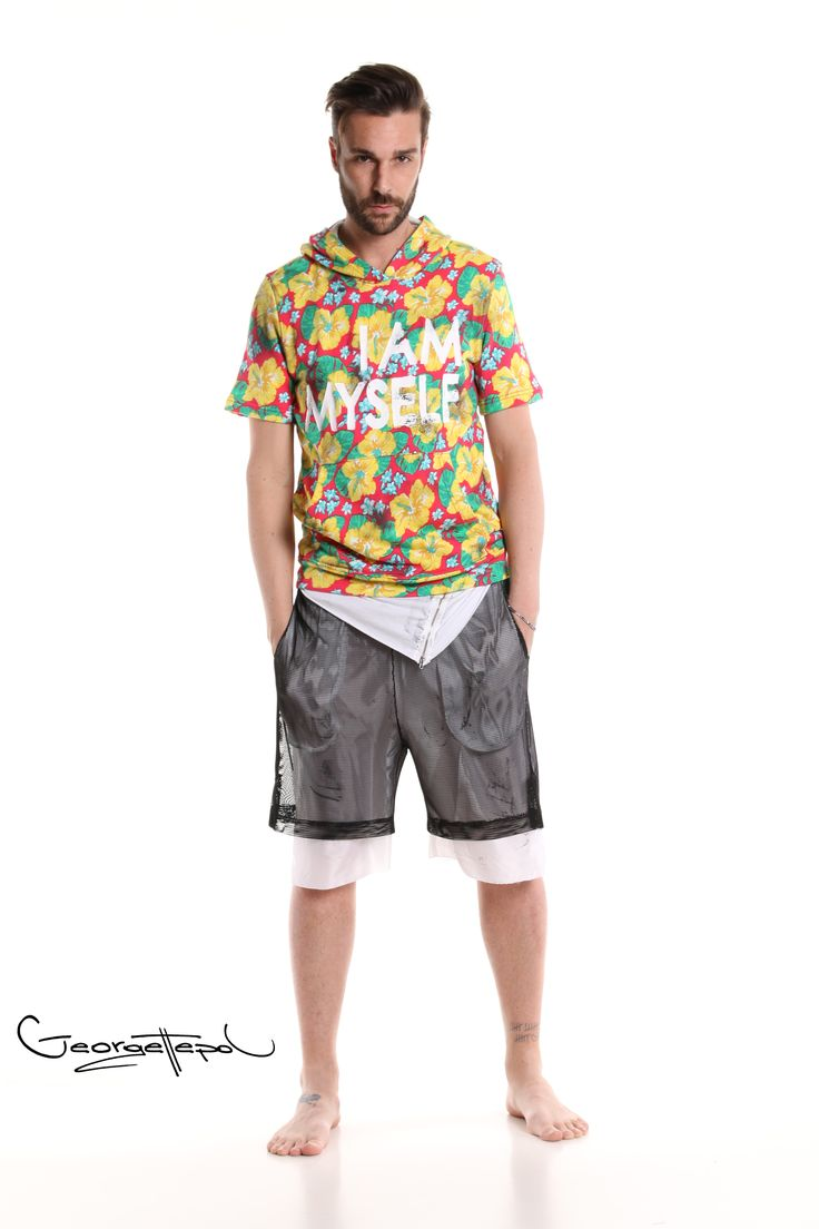 Flowers sweatshirt - Long white t-shirt - Bermuda basket black and white #bermuda #basket #fashion #man #painted #summer  #hoodie #flowers #white #black #tshirt #zip #style #georgettepol