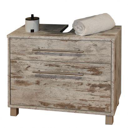 Waschbeckenunterschrank Moncton - Mit zwei Schubladen - Eiche antik