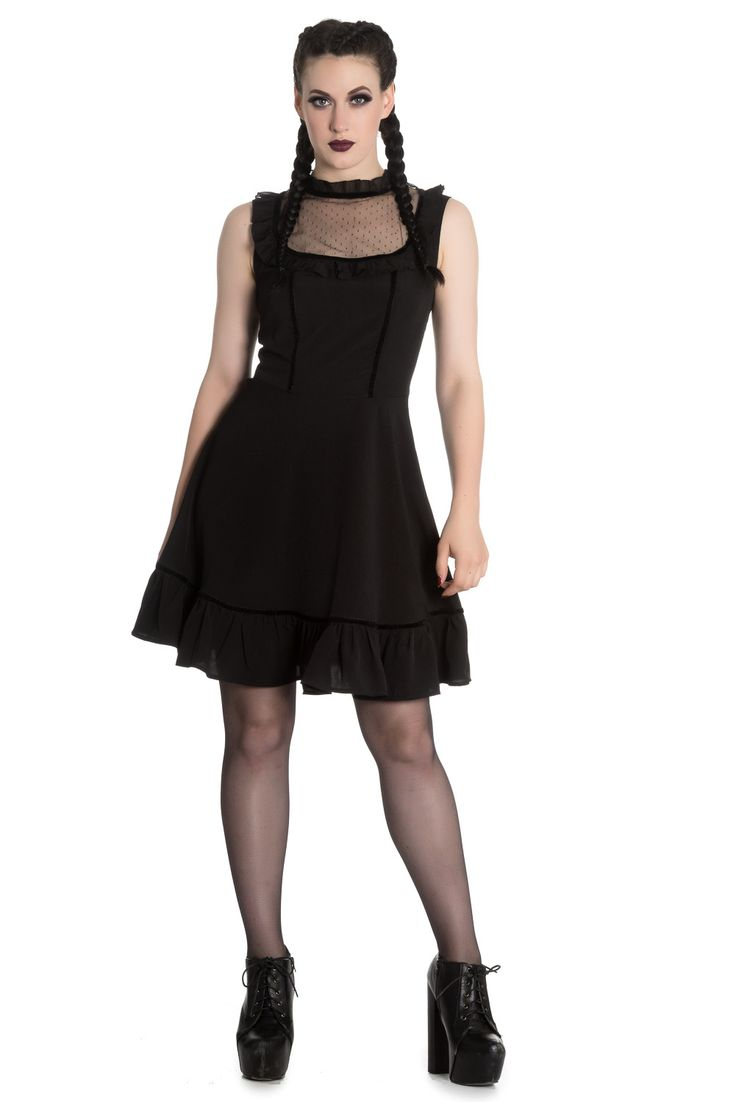 This Gothic and Alternative style black mini dress by Spin Dr. is so cute yet elegant. Must have a piece for all Gothic and Witch girls! It is not a ordinary black mini dress but made of 100% Polyeste