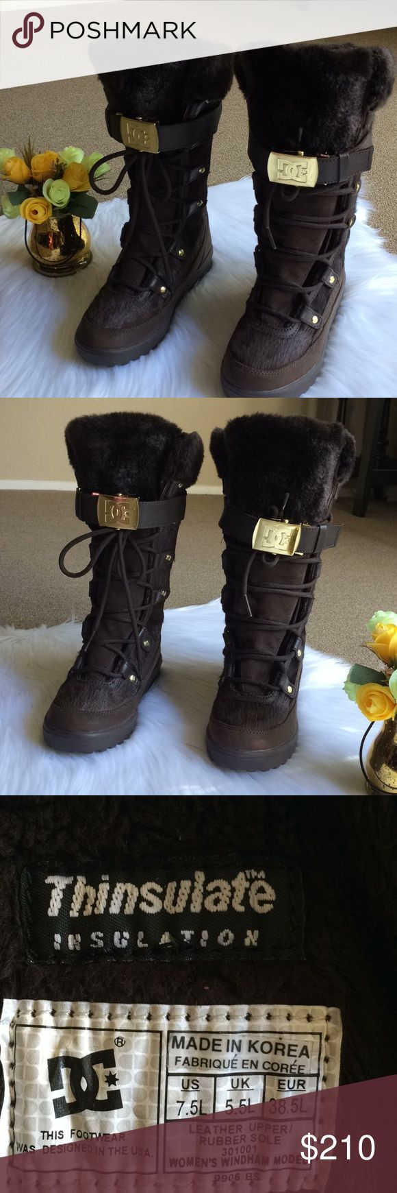DC Boots Leather Sz 7.5 Excellent Condition DC Real Leather Upper Rubber Sole Sz 7.5 L Laced up boots Fur  Thinsulate Insulation With Buckle front or side ways Soo Gorgeous! D & G Shoes Lace Up Boots