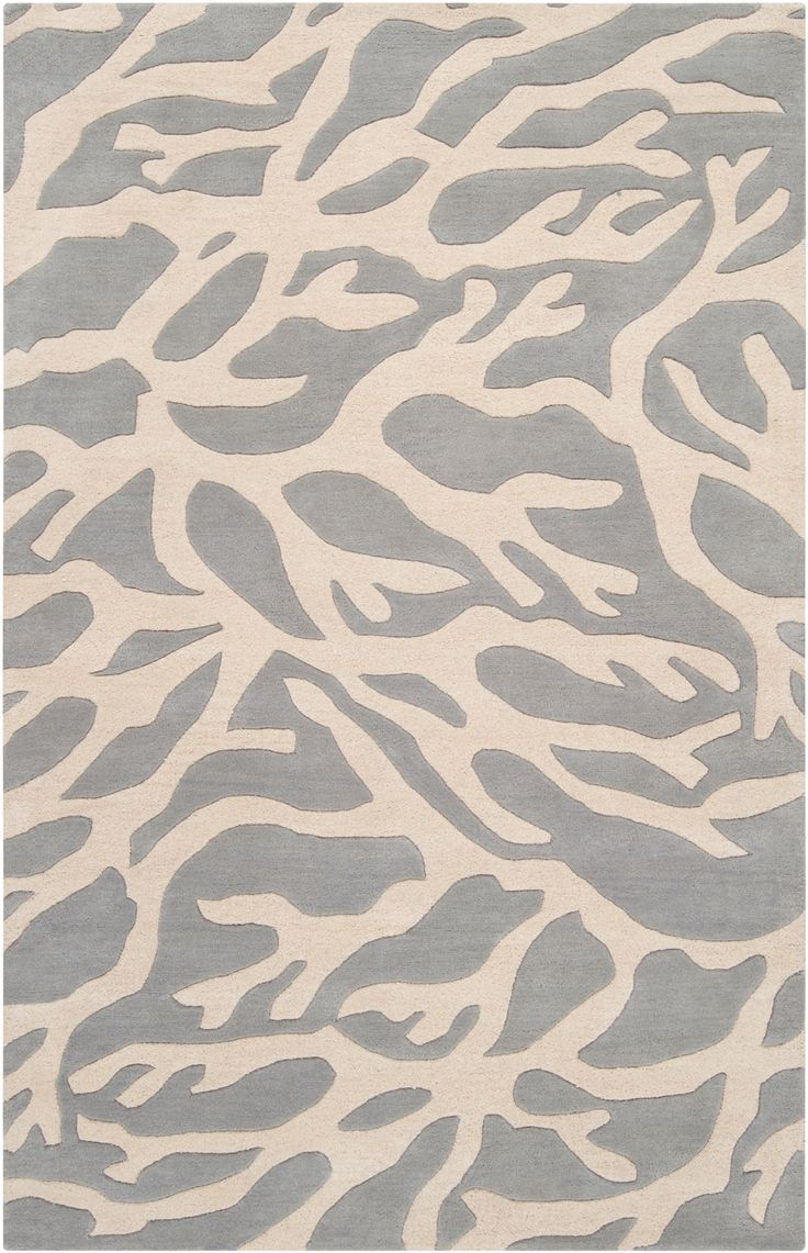 Escape Large Coral Area Rug - Parchment on Flint Gray ...