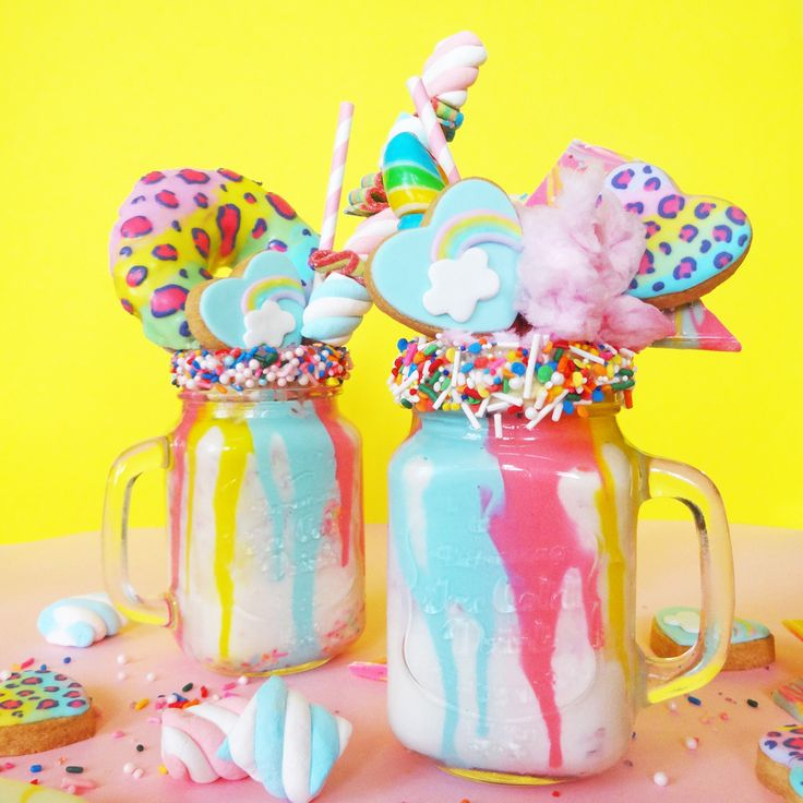 Drool-Worthy Lisa Frank-Inspired Cake Batter Milkshakes via Brit + Co