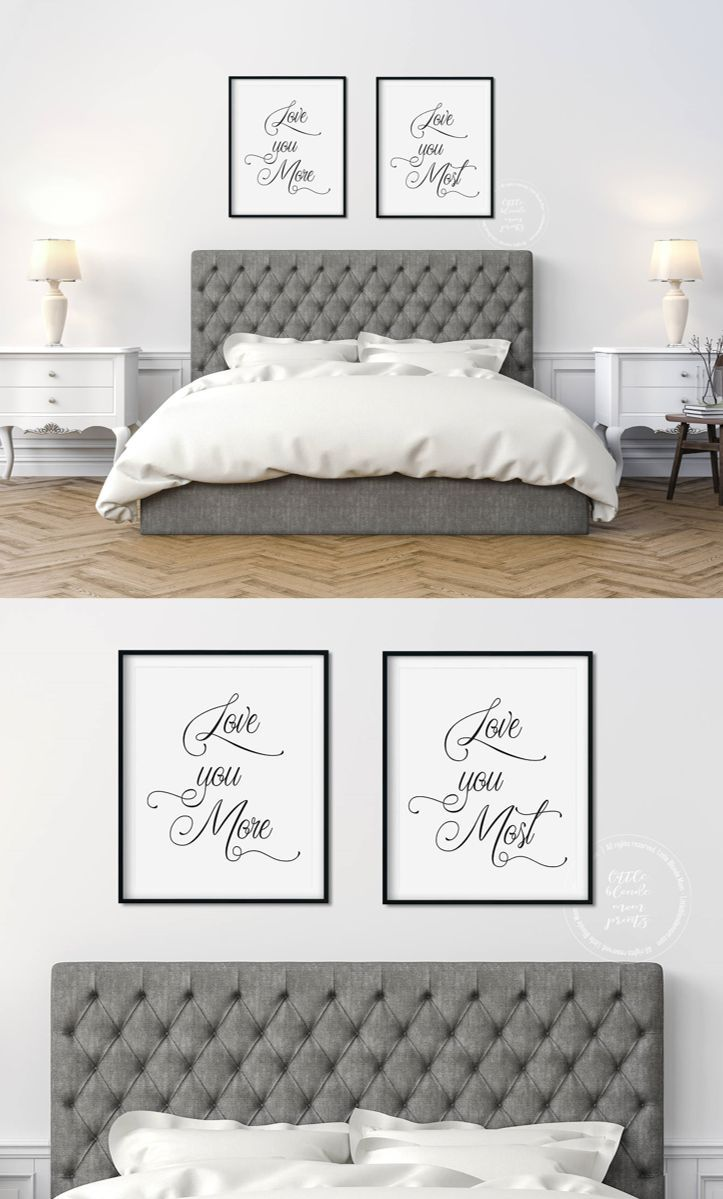 Set Of 2 Printable Romantic Wall Art Bedroom Decor Love You