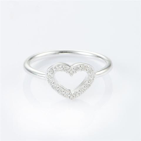 Love Heart 925 Sterling Silver ring with cubic zirconias www.zapppedjewelry.com