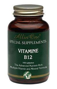 All in One Vitamine B12 Tabletten Energie 100Tabl  All in One Vitamine B12. Vitamine B12 is nodig voor een goede werking van het zenuwstelsel. Gebruik: Volwassenen: dagelijks 1 zuigtablet bij voorkeur voor de maaltijd innemen. Aanbevolen dagelijkse hoeveelheid niet overschrijden tenzij in overleg met uw gezondheidsadviseur anders is bepaald.  EUR 13.95  Meer informatie