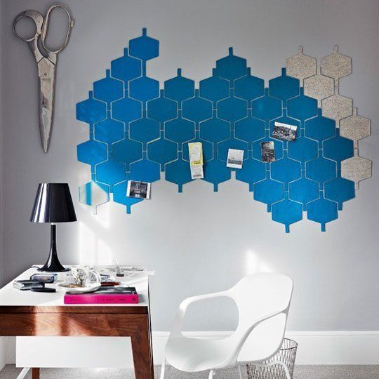 Use Flock Felt Wall Tiles For a Custom Home Office Memo Board — House to Home