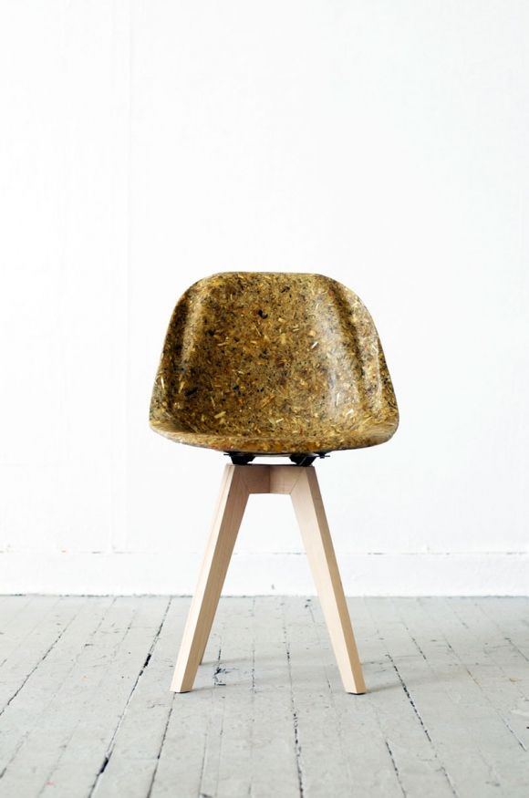 A simple bucket chair made from artichoke thistle and a biological resin abstracted from yesterday's cooking oil performs like plastic but without the damaging properties. This fantastic alternative is 100% biodegradable, no landfill sob stories around here. The designer's name is Spyros Kizis;