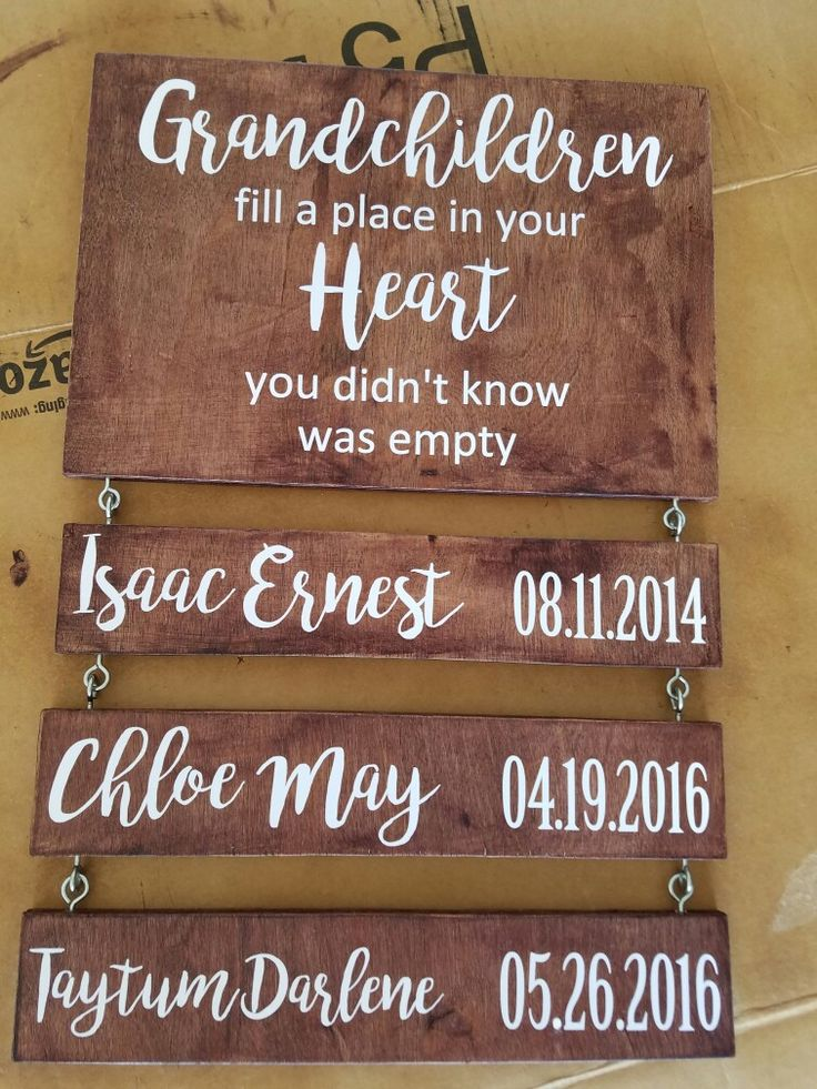 Grandchildren sign I made for my mother in law super easy to make. Vinyl, oak wood, sand paper, stain, satin finish spray paint laquer