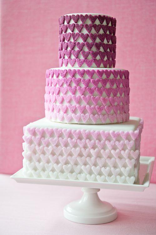 beautiful gradient cakeValentine Cake, Cake Design, Pink Heart, Cake Decor, Ombre Cake, Wedding Cakes, Sugar Heart, Ombre Sugar, Heart Cakes
