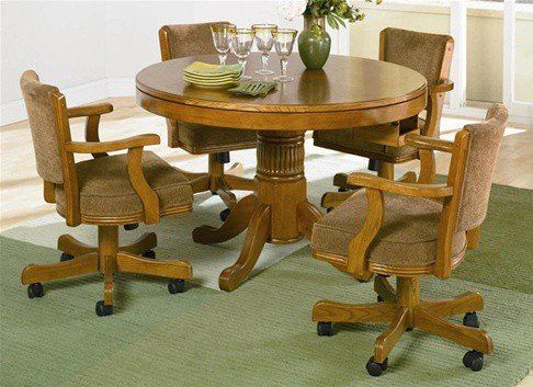 Coaster Furniture   Three In One Bumper/Poker/Dining 5 Piece Table Set In  Oak Finish