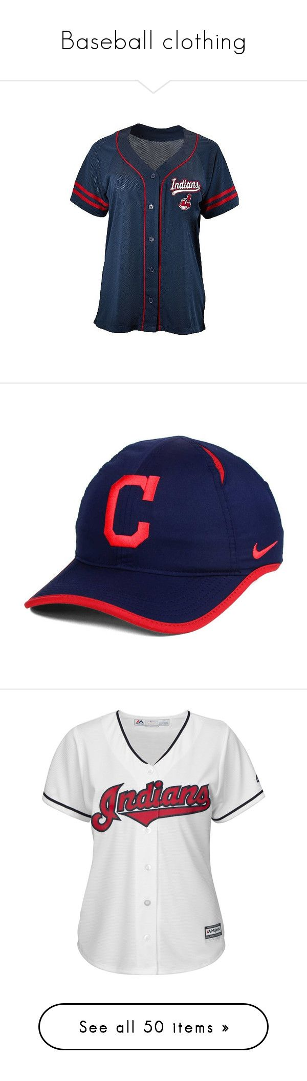 """Baseball clothing"" by jaiden-ortiz on Polyvore featuring activewear, activewear tops, cleveland indians, mesh jersey, print shirts, blue patterned shirt, mesh jersey shirt, athletic shirts, accessories and hats"