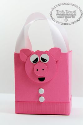 Stampin' Up!  Fancy Favor Box  Beth Beard  Pig Punch Art