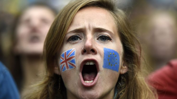 Demonstrators shout outside the Houses of Parliament during a protest aimed at showing London's solidarity with the European Union following the recent EU referendum, in central London, Britain June 28, 2016.       REUTERS/Dylan Martinez - RTX2IQIK