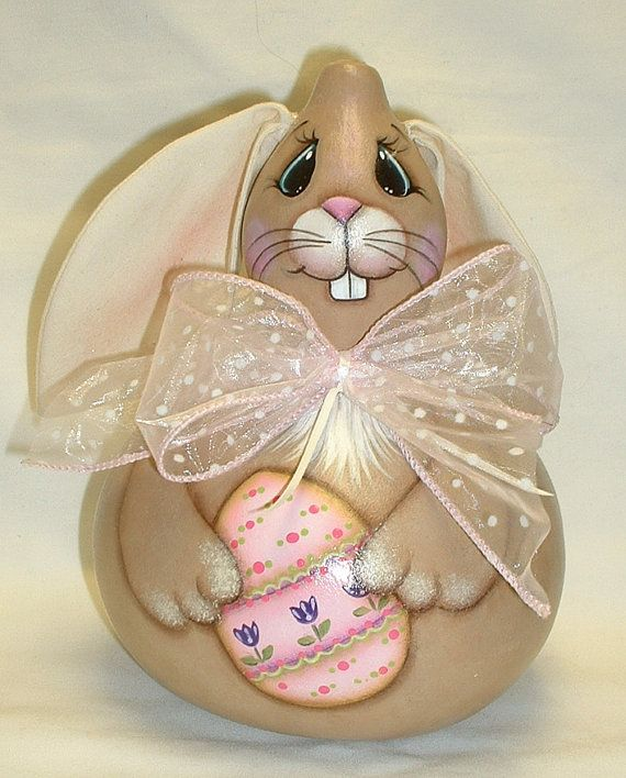 Gourd Easter Bunny with Easter Egg  Hand Painted by FromGramsHouse, $25.00