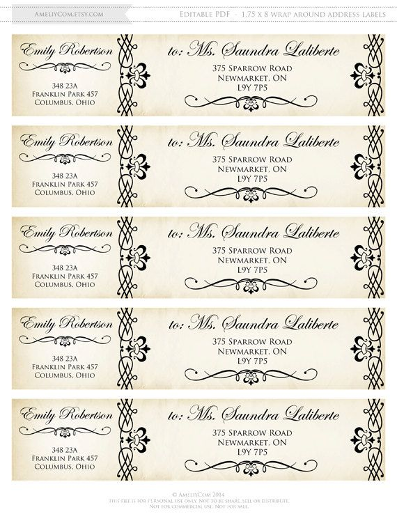 wedding mailing labels templates - printable wrap around address labels editable instant by