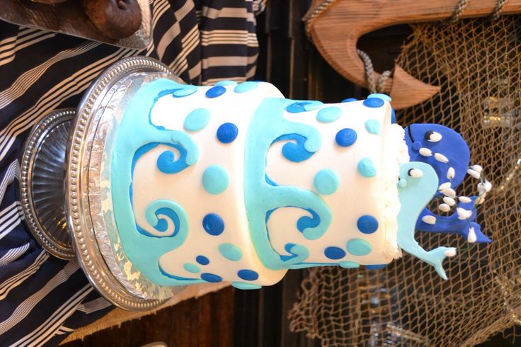 "We love this nautical themed ""Ahoy, It's a Boy"" baby shower idea. How cute? 