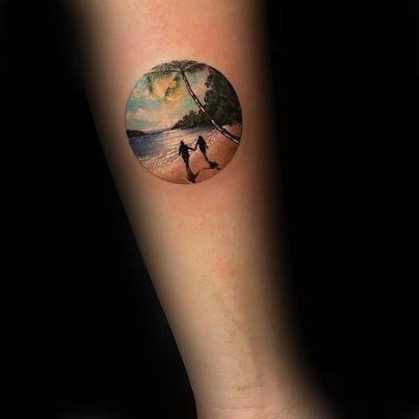 40 Small Beach Tattoos For Men Seashore Design Ideas Beach Tattoo